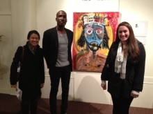 "Two of our managing editors with 2013 featured artist Gordon Skinner at his ""Hard Works"" exhibition in Nov. 2012"